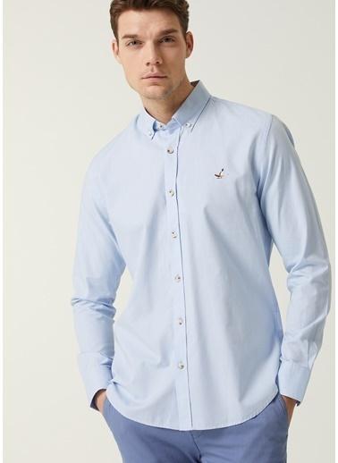 Beymen Club Beymen Club 101597436 Pamuk Düğmeli Yaka Uzun Kol Slim Fit Düğme Kapatmalı Logo Işlemeli Köşeli Manşetli Açık  Oxford Erkek Gömlek Mavi